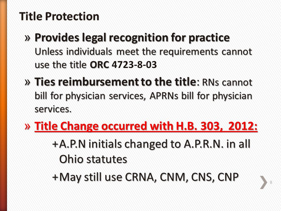 Title Protection Provides legal recognition for practice Unless individuals meet the requirements cannot use the title ORC 4723-8-03.