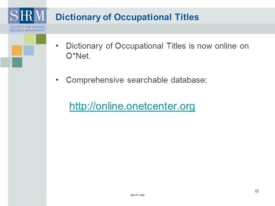 what is the dictionary of occupational titles