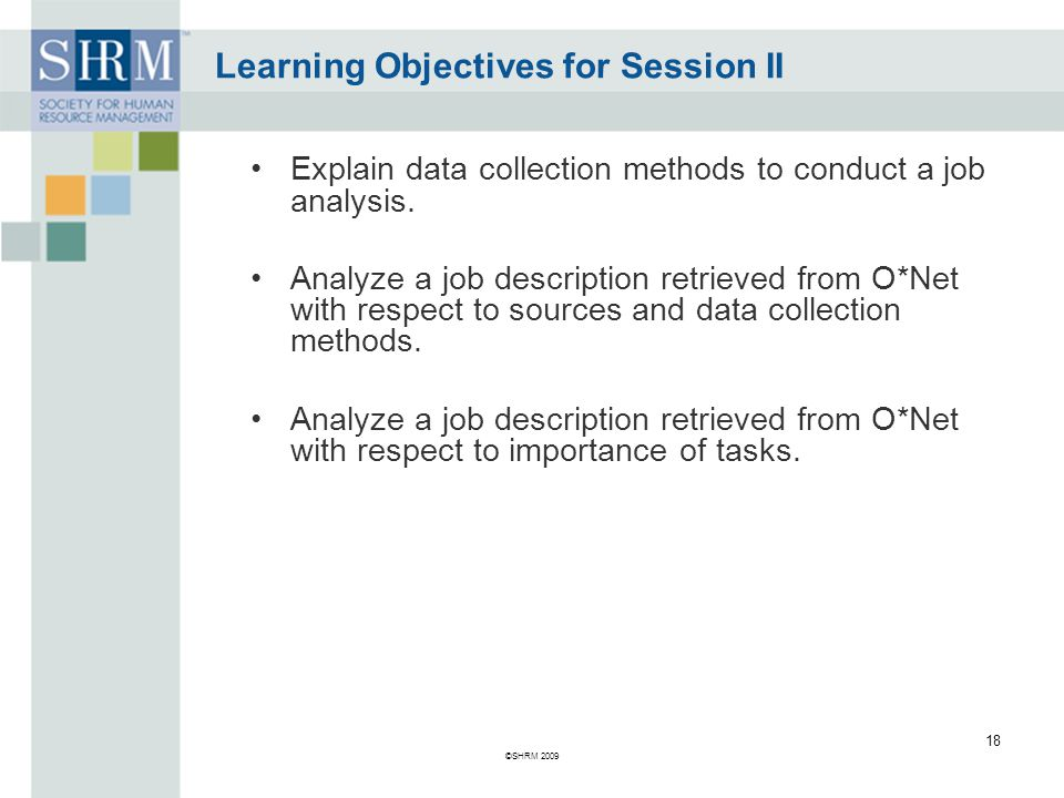 Learning Objectives for Session II