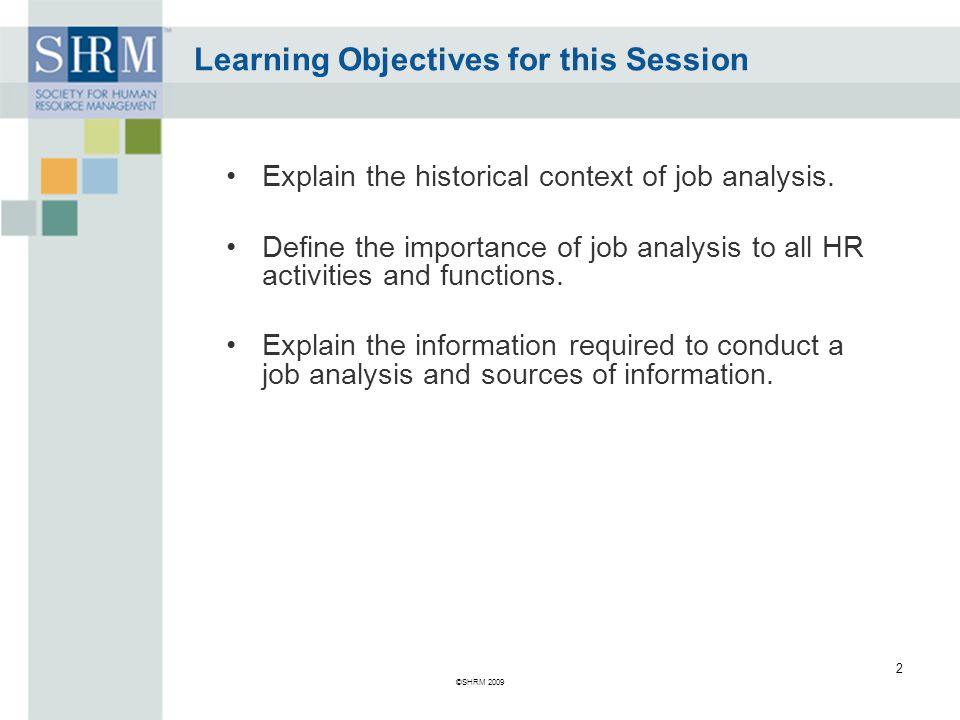 Learning Objectives for this Session