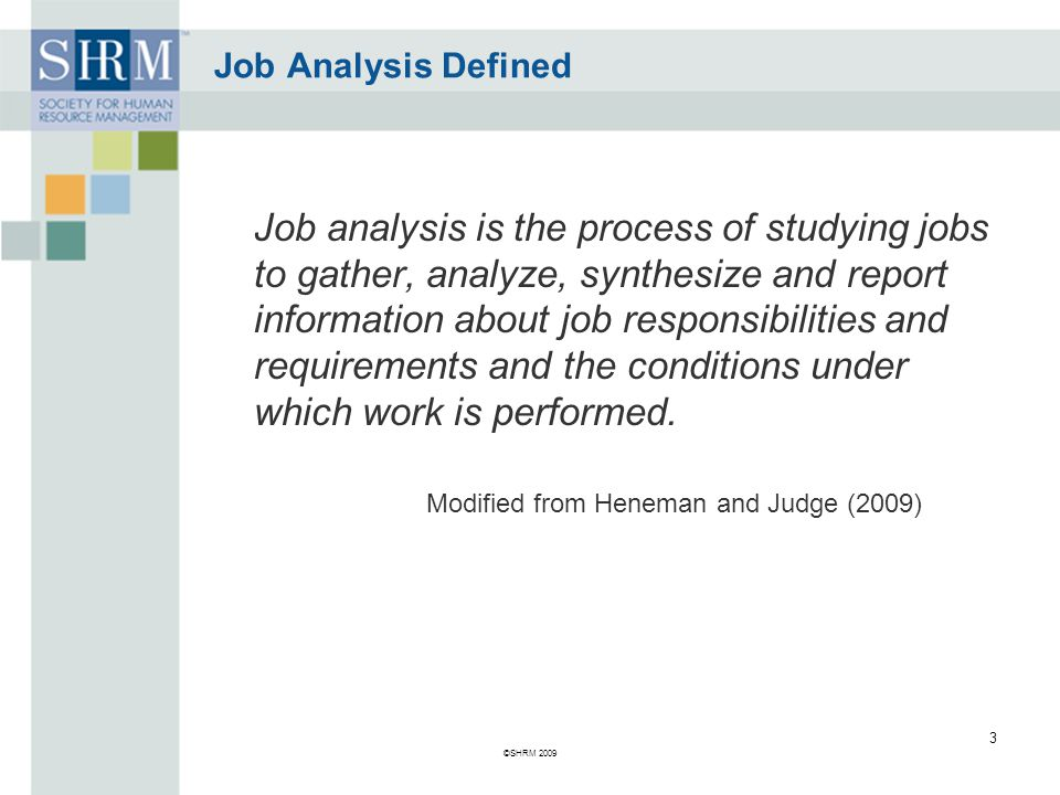 Job Analysis Defined