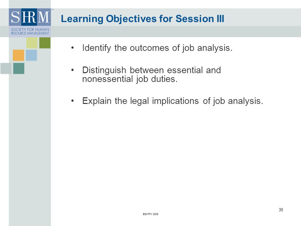 Learning Objectives for Session III