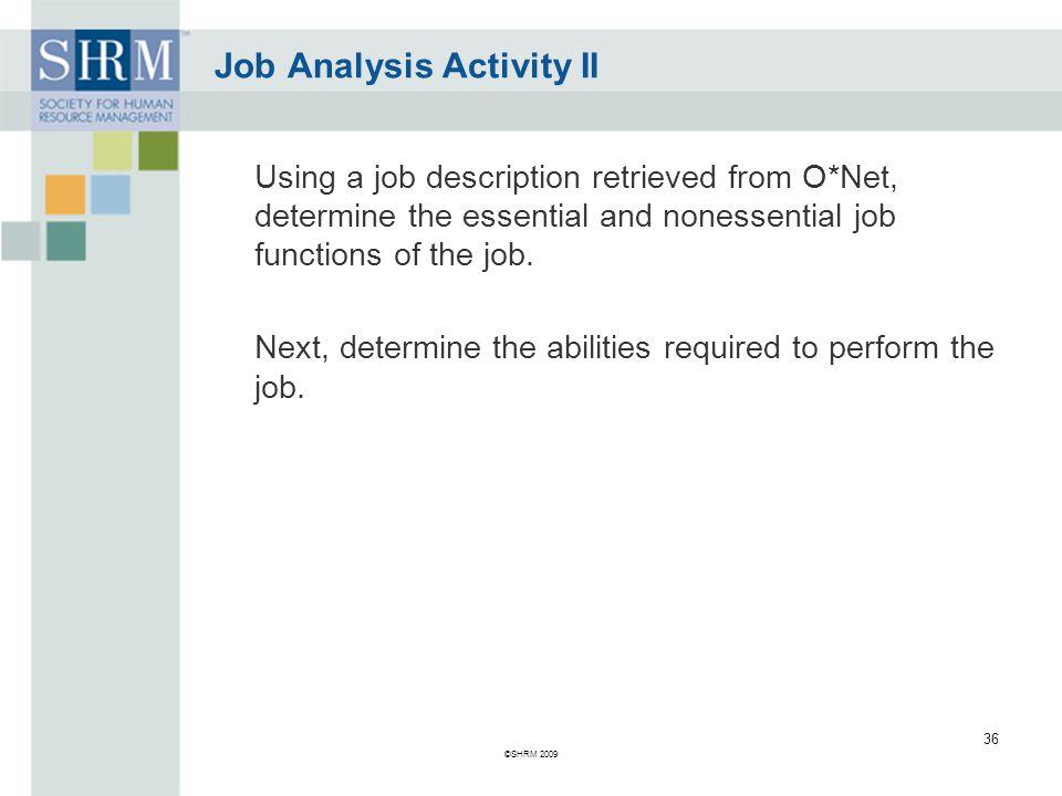 Job Analysis Activity II