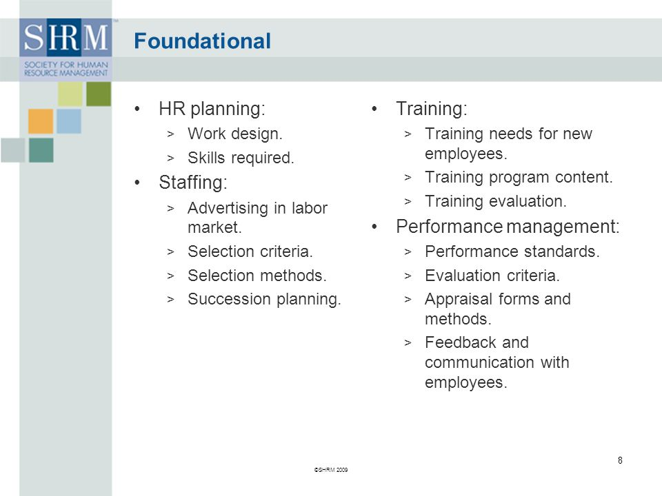 Foundational HR planning: Staffing: Training: Performance management: