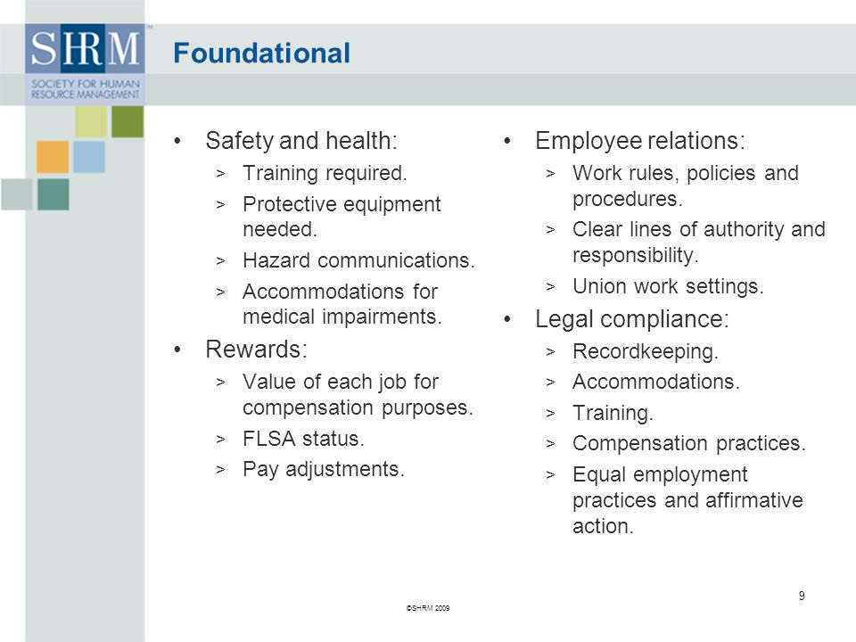 Foundational Safety and health: Rewards: Employee relations: