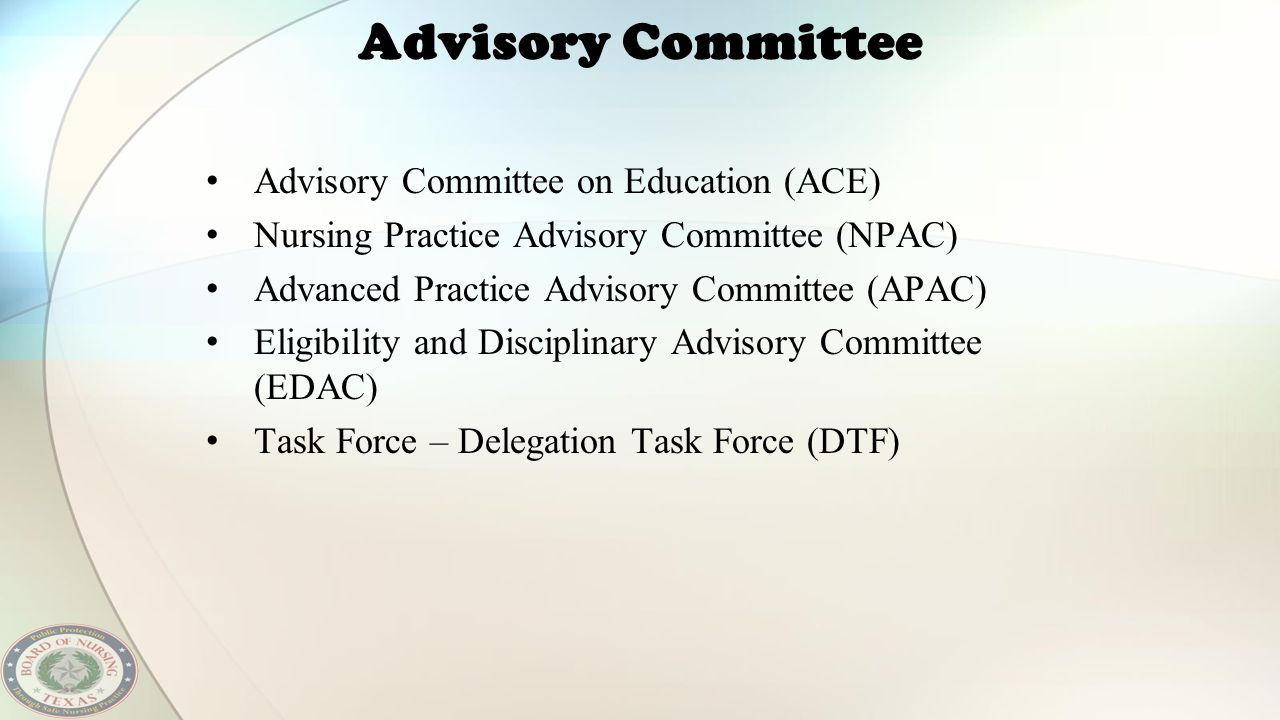 Advisory Committee Advisory Committee on Education (ACE)