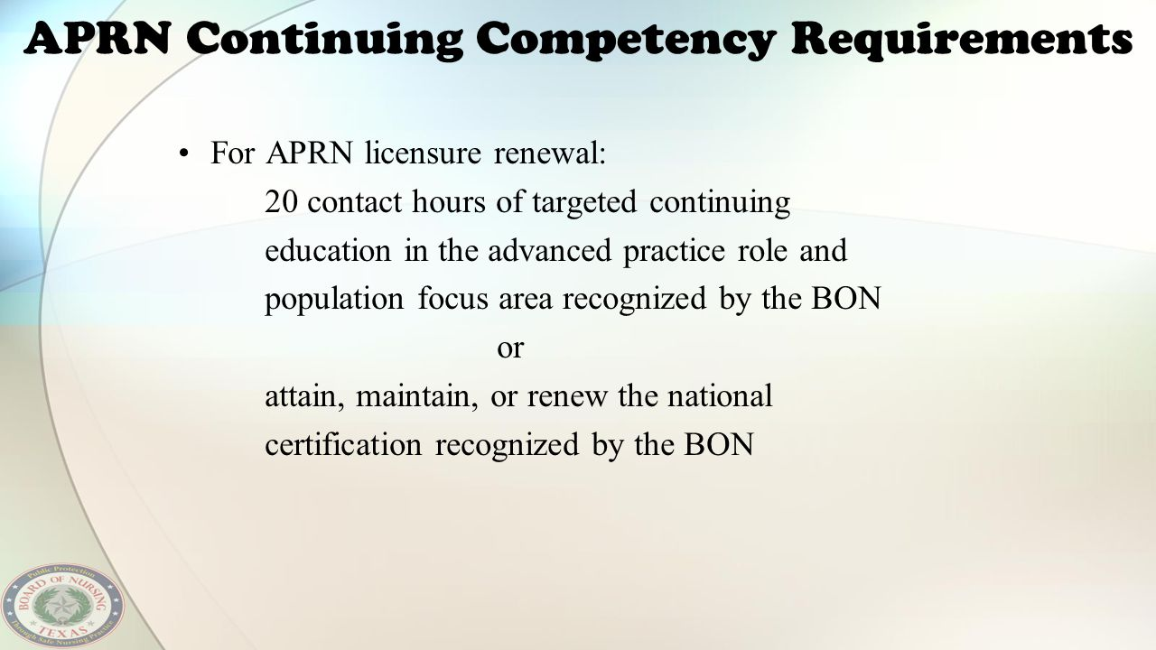 APRN Continuing Competency Requirements