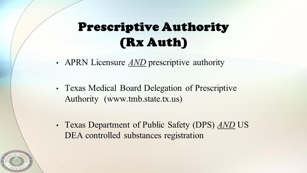 Prescriptive Authority (Rx Auth)