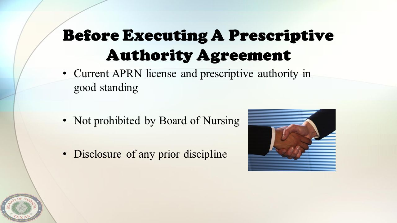 Before Executing A Prescriptive Authority Agreement