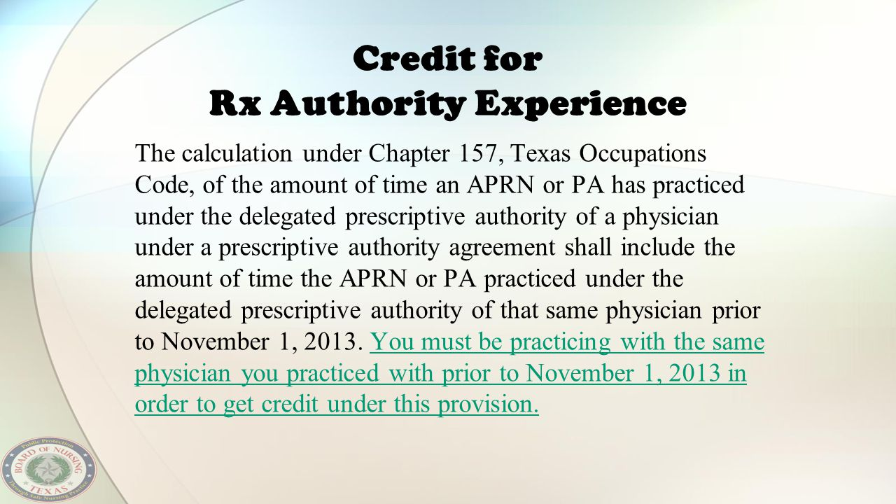 Credit for Rx Authority Experience