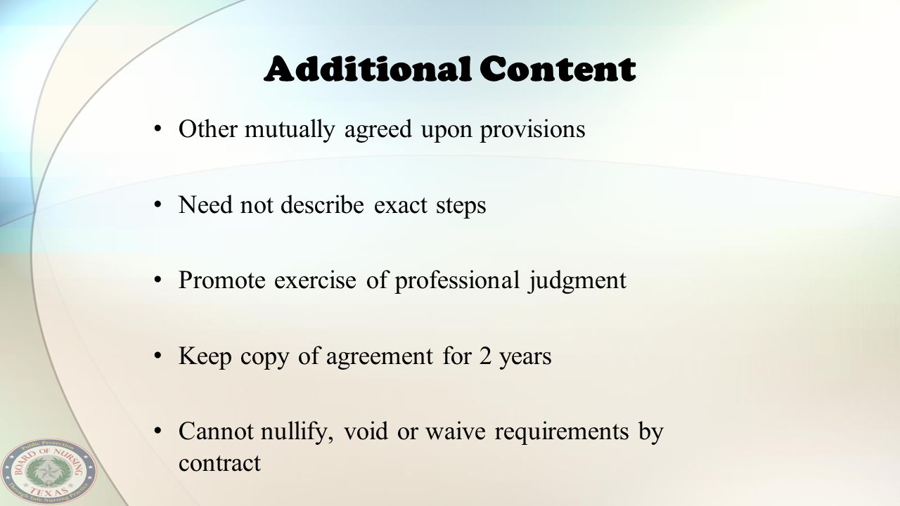 Additional Content Other mutually agreed upon provisions