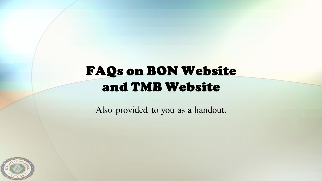 FAQs on BON Website and TMB Website