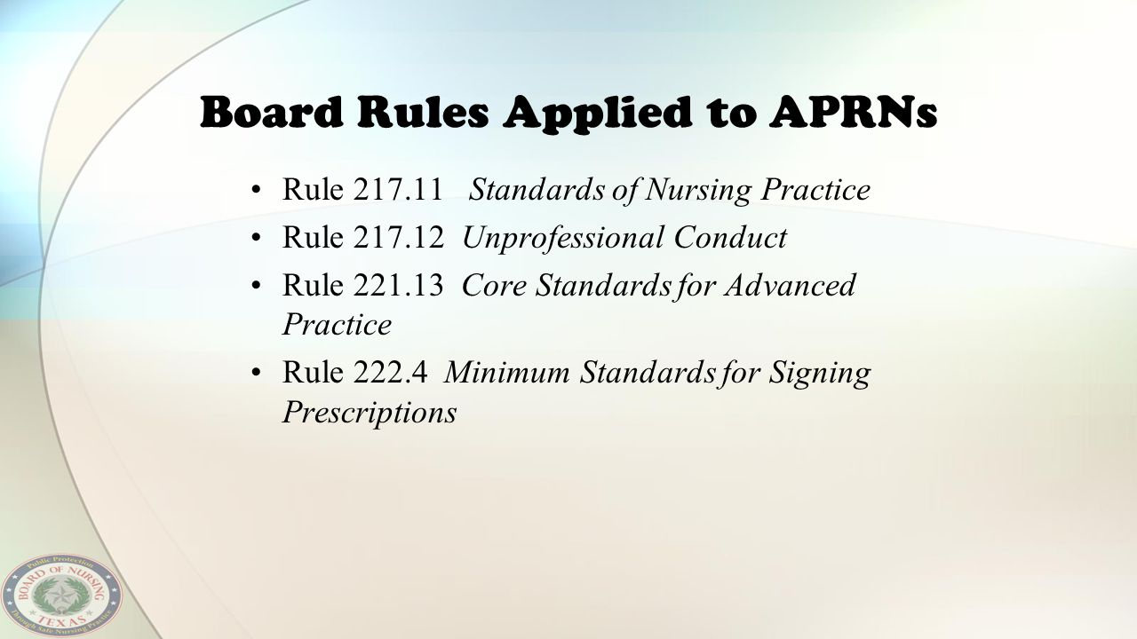 Board Rules Applied to APRNs