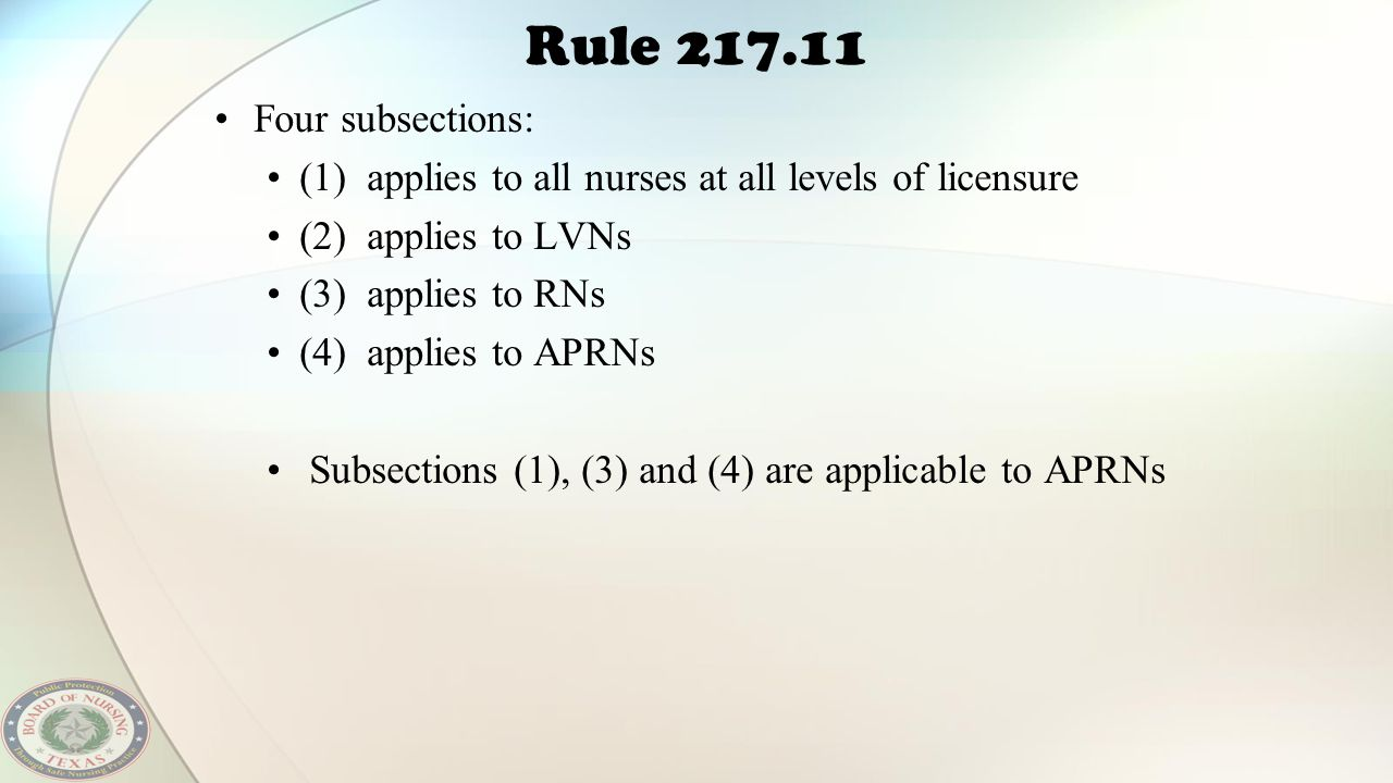 Rule 217.11 Four subsections: