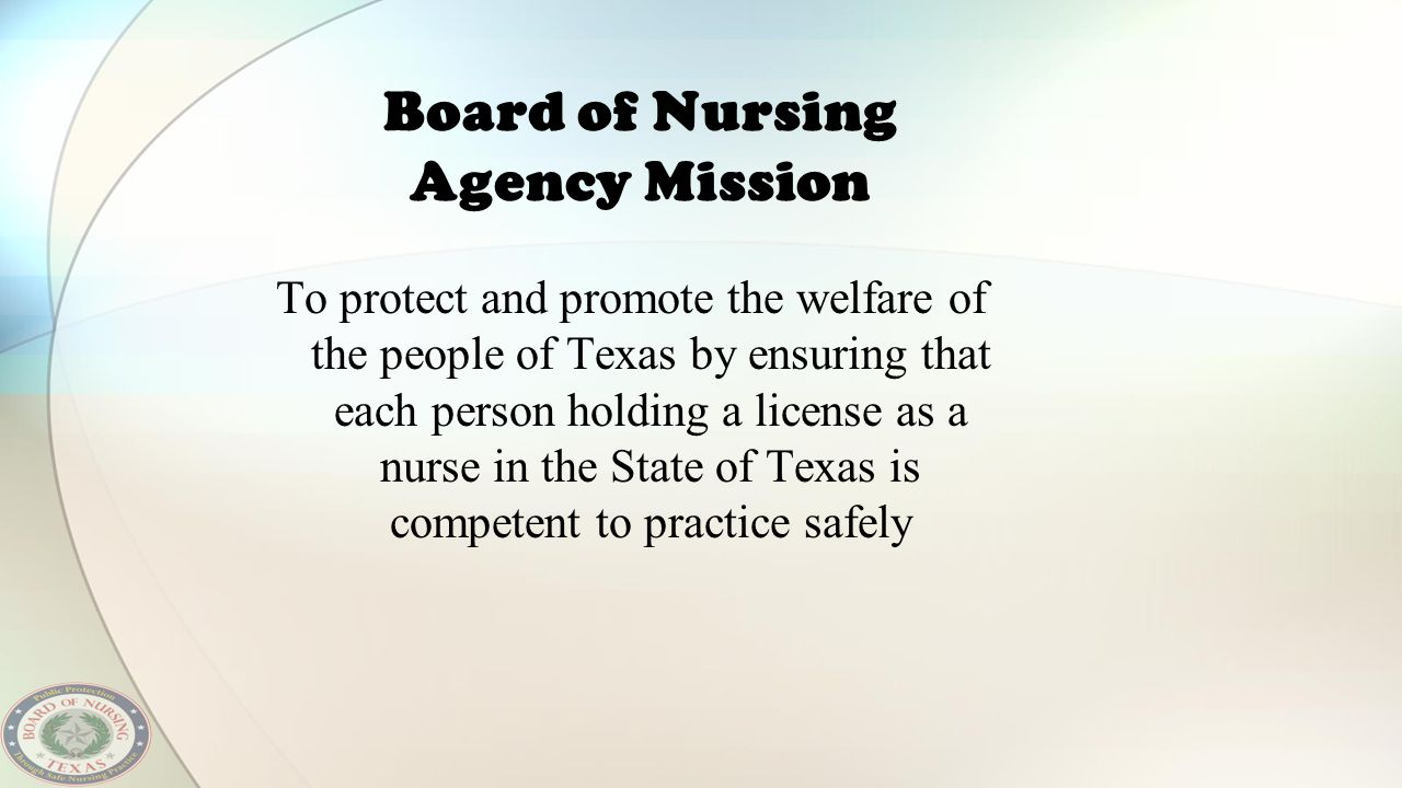 Board of Nursing Agency Mission