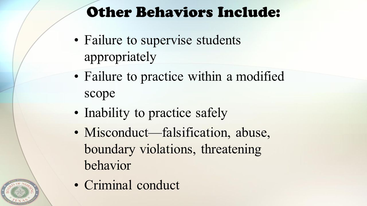Other Behaviors Include: