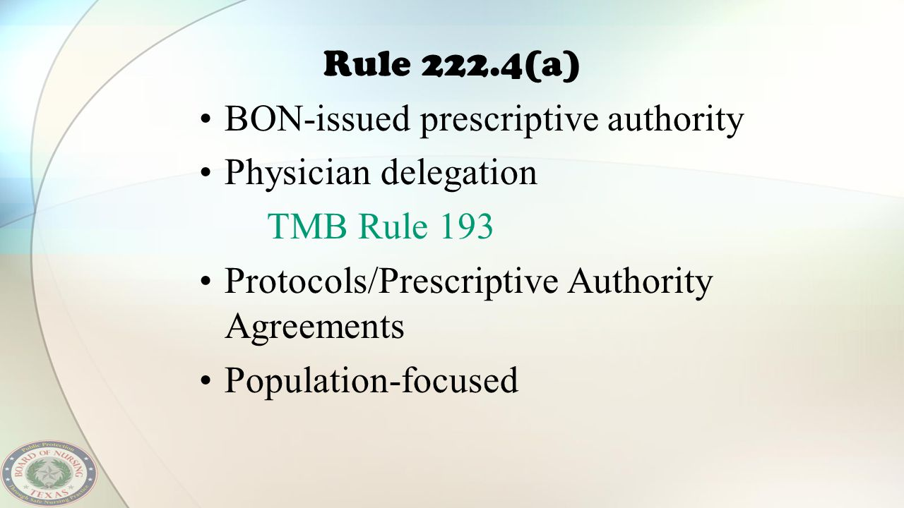 BON-issued prescriptive authority Physician delegation TMB Rule 193