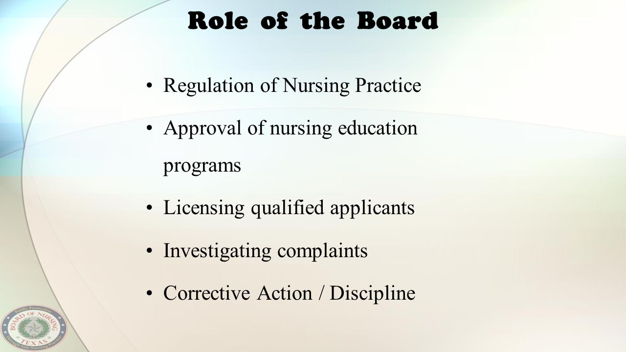 Role of the Board Regulation of Nursing Practice