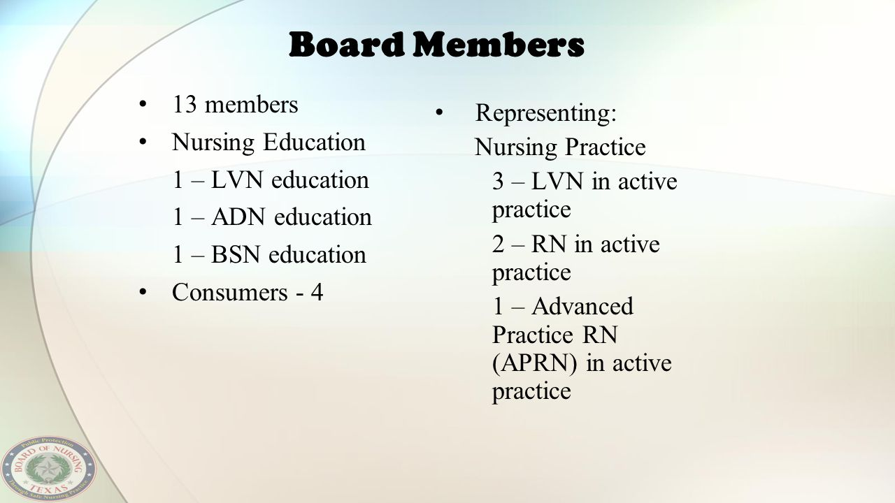 Board Members 13 members Representing: Nursing Education