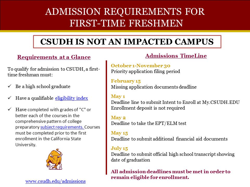 CSUDH IS NOT AN IMPACTED CAMPUS Requirements at a Glance