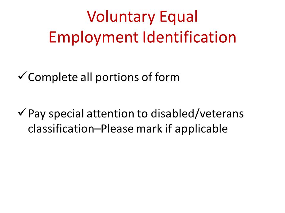 Voluntary Equal Employment Identification
