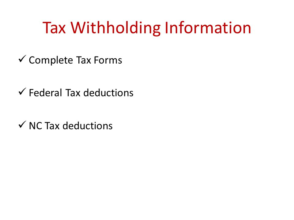 Tax Withholding Information