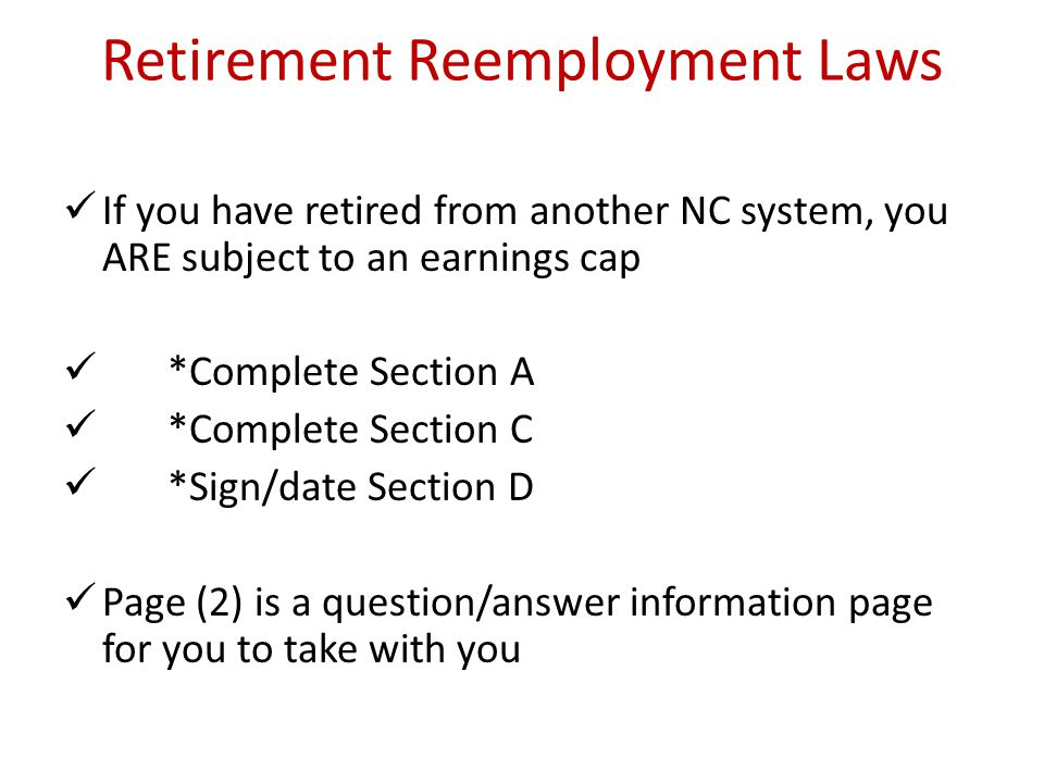 Retirement Reemployment Laws
