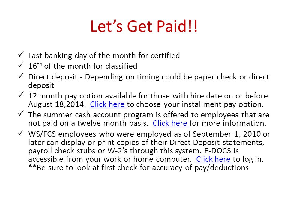 Let's Get Paid!! Last banking day of the month for certified