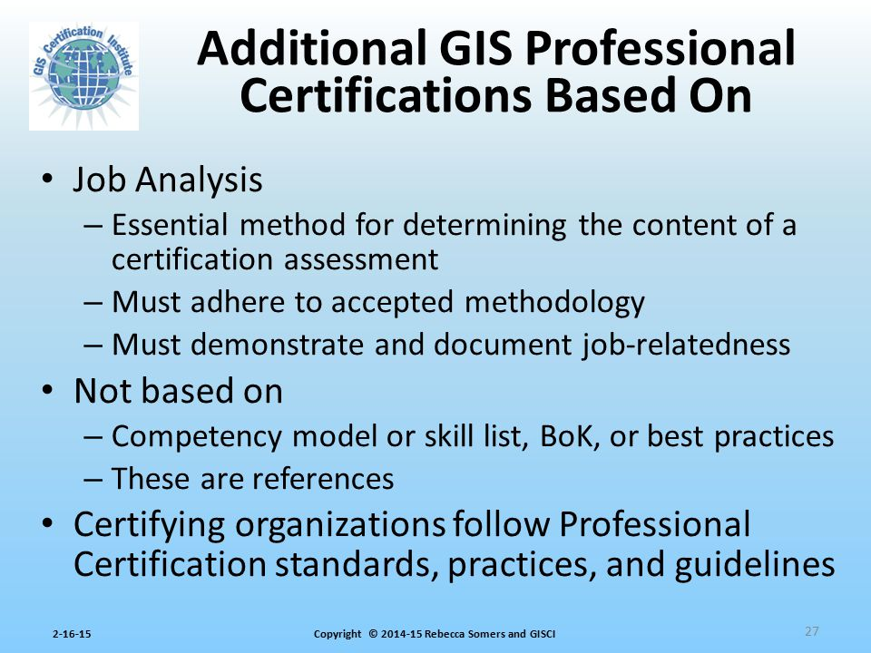 Additional GIS Professional Certifications Based On