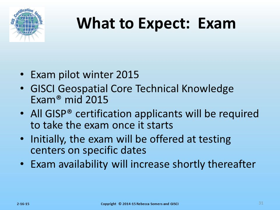 What to Expect: Exam Exam pilot winter 2015