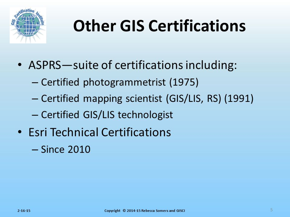 Other GIS Certifications