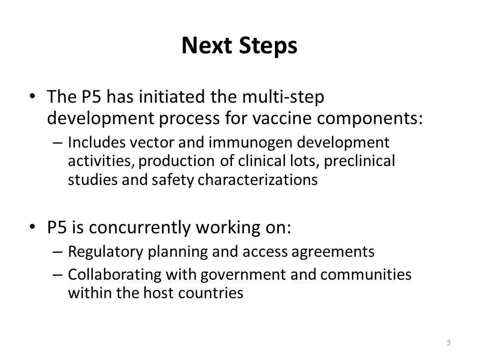Next Steps The P5 has initiated the multi-step development process for vaccine components: