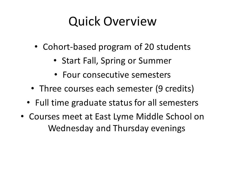 Quick Overview Cohort-based program of 20 students