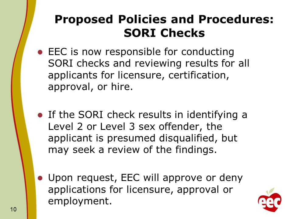 Proposed Policies and Procedures: SORI Checks