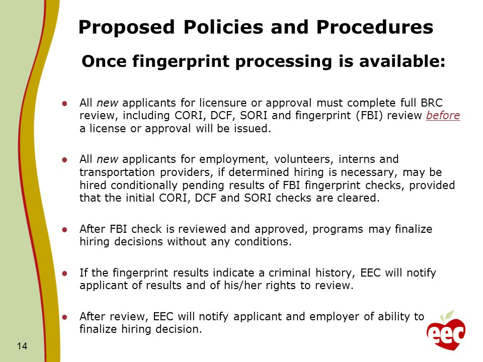 Proposed Policies and Procedures