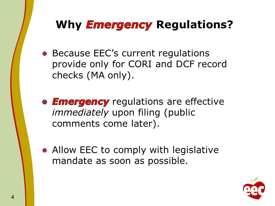 Why Emergency Regulations