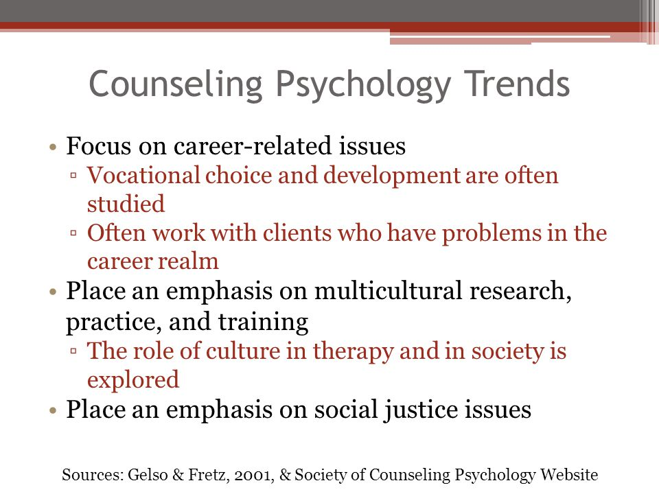 Counseling Psychology Trends
