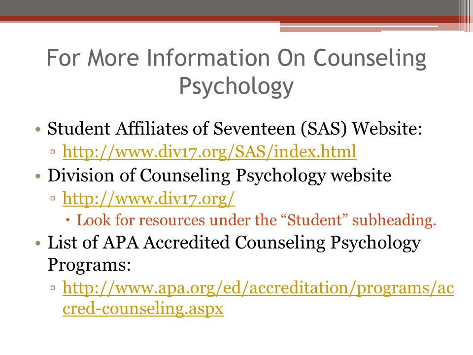 For More Information On Counseling Psychology