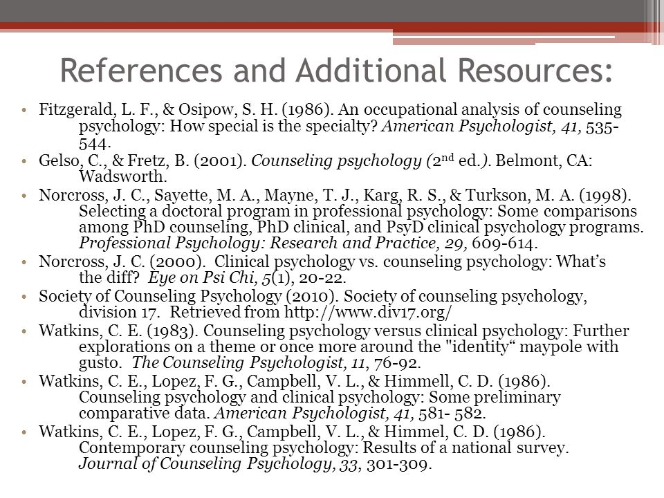 References and Additional Resources: