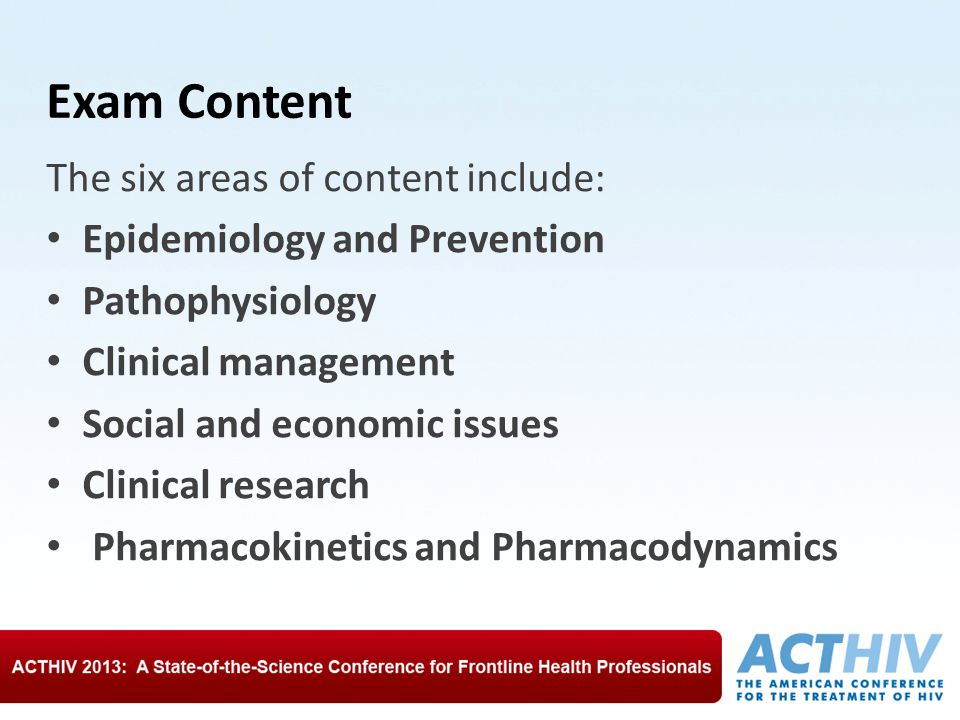 Exam Content The six areas of content include: