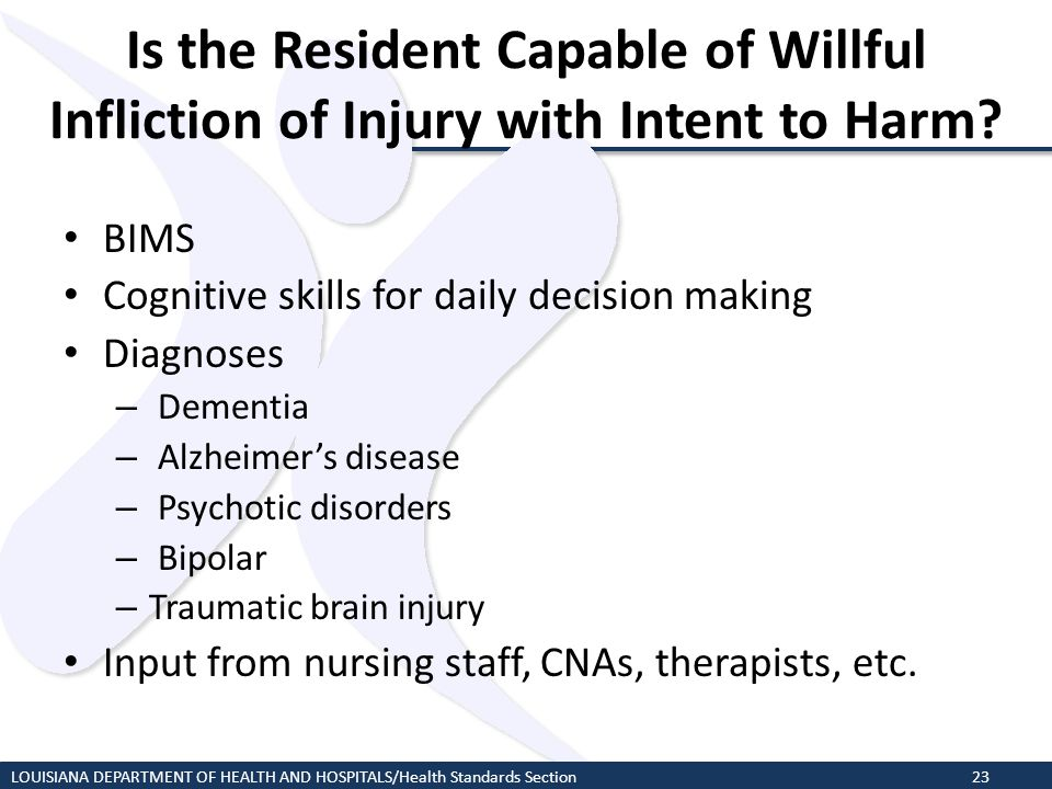 Is the Resident Capable of Willful Infliction of Injury with Intent to Harm