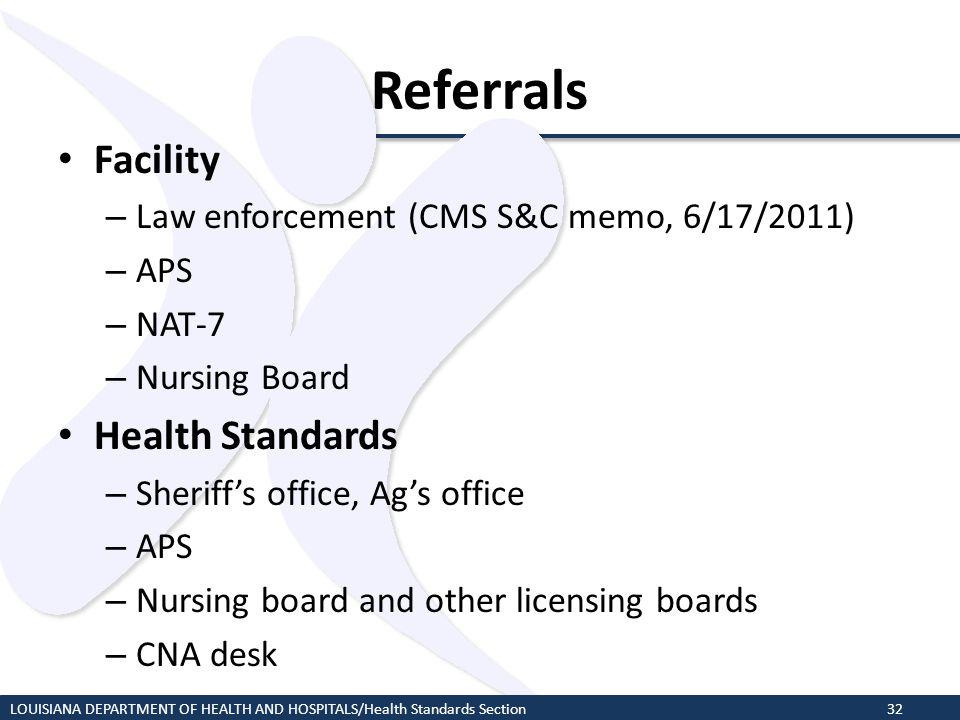 Referrals Facility Health Standards