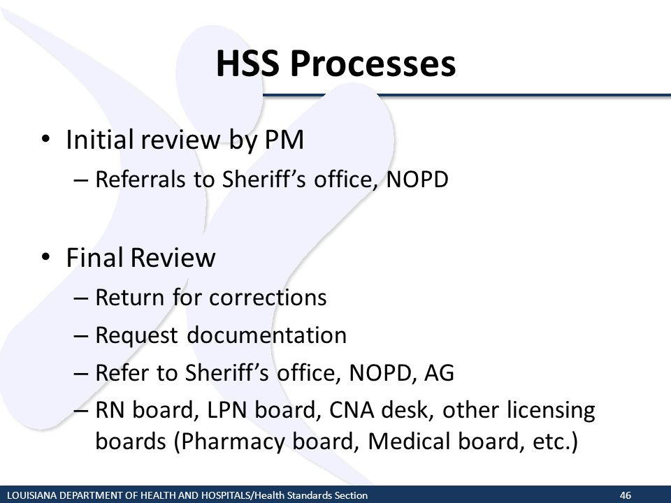 HSS Processes Initial review by PM Final Review