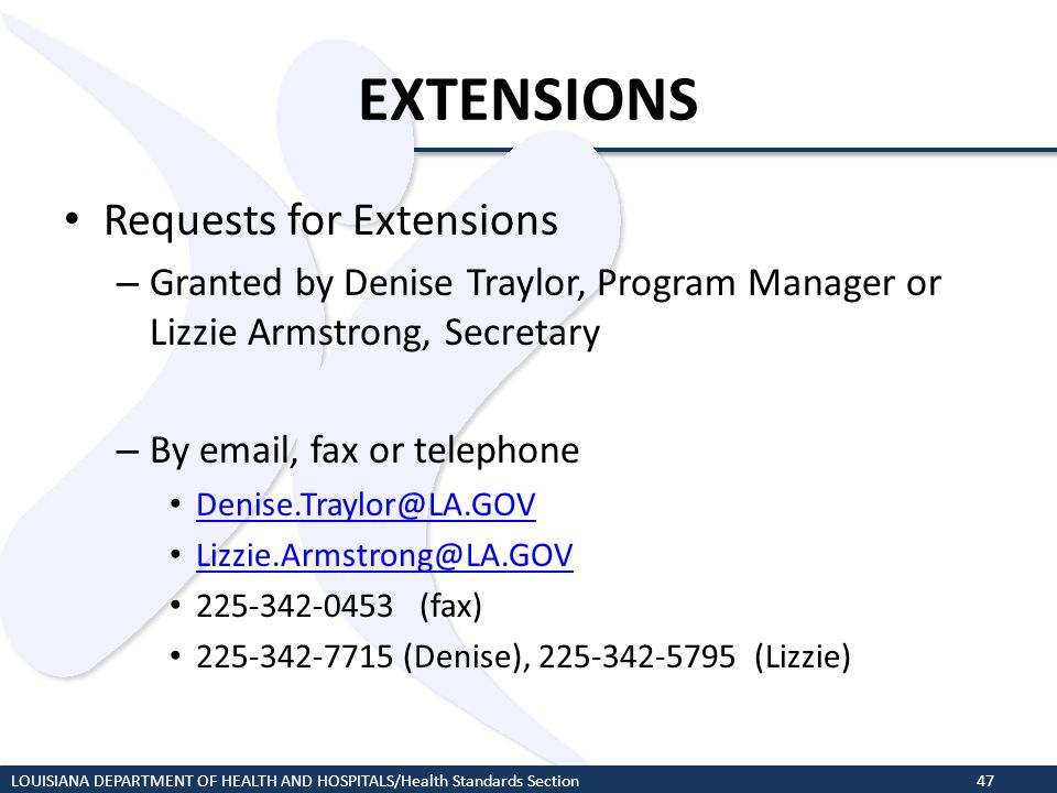 EXTENSIONS Requests for Extensions