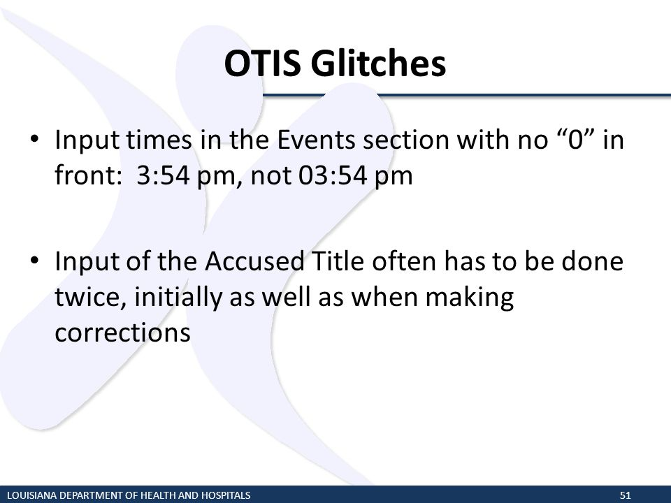 OTIS Glitches Input times in the Events section with no 0 in front: 3:54 pm, not 03:54 pm.