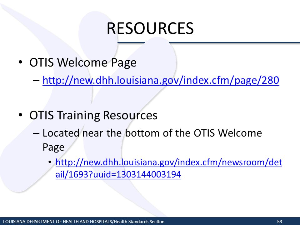 RESOURCES OTIS Welcome Page OTIS Training Resources
