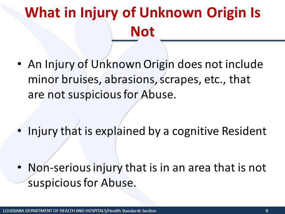 What in Injury of Unknown Origin Is Not