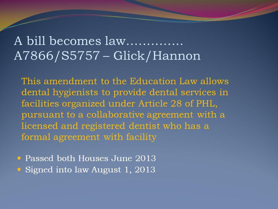 A bill becomes law………….. A7866/S5757 – Glick/Hannon
