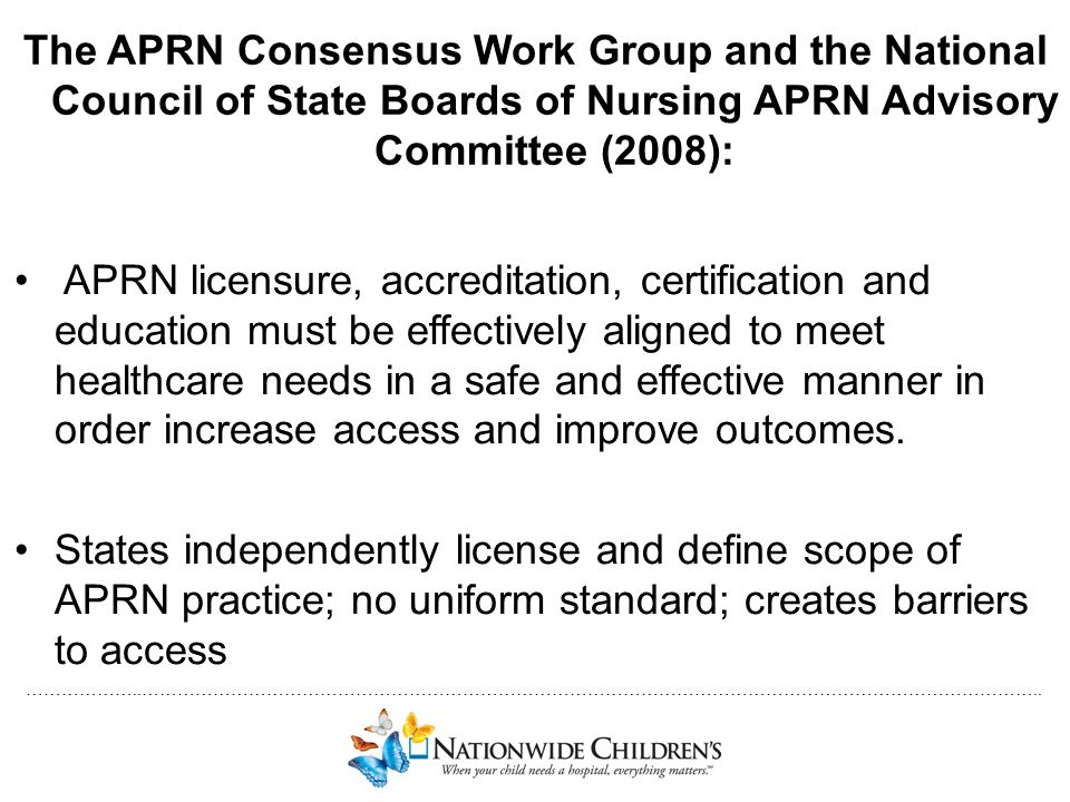 The APRN Consensus Work Group and the National Council of State Boards of Nursing APRN Advisory Committee (2008):