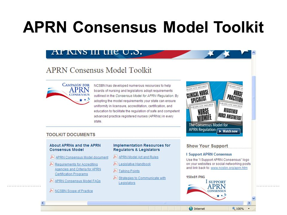 APRN Consensus Model Toolkit